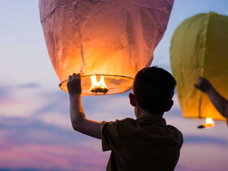 Kids releasing lanterns into the sky
